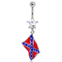 316L Surgical Steel Rebel Flag Navel Ring