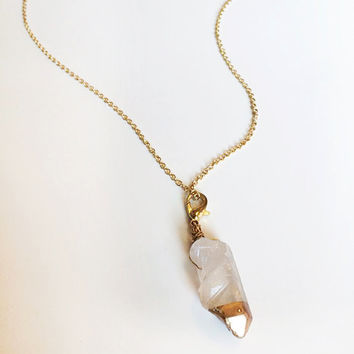 Clear Quartz Crystal with Rainbow Aura Dipped in Gold Liquid Gilding Gold Plated Necklace