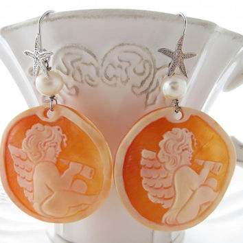 Cameo earrings from Torre del Greco with freshwater pearls italian shell cameo jewelry sterling silver 925 Made in Italy Sofia's Bijoux