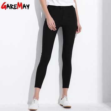 Women Clothing Pants Skinny Office Lady Spring Autumn Full Length Pencil Mid Waist Button Trousers Female