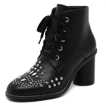 Round Toe Lace Up Rivets Chunky Heel Short Boots