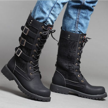 Mens Black Lace Up Buckles Mid Calf Tall Long Army Combat Military Boots Tb0350