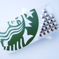 Silver Studded Starbucks Inspired Hard Iphone 5 5s with Studs Cell Phone Case