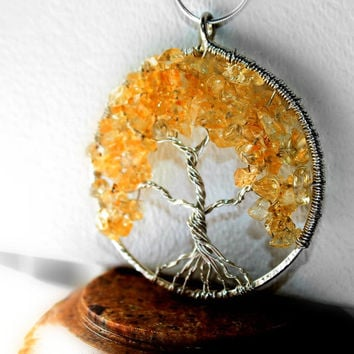 Tree of Life Necklace, Citrine Tree Of Life, November Birthstone Family Tree For Her, Sterling Silver Fall Tree, Spring Tree of Life