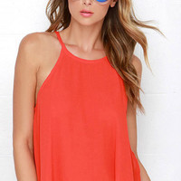 Red Sleeveless Camis