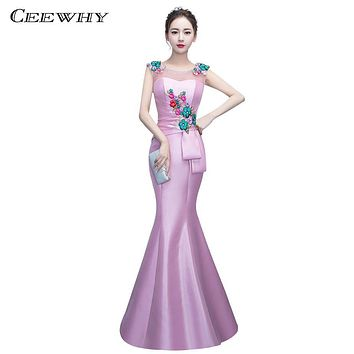 CEEWHY Elegant Embroidery Evening Dresses Long 2017 Luxury Prom Party Formal Dress Trumpet Mermaid Evening Gown Robe De Soiree
