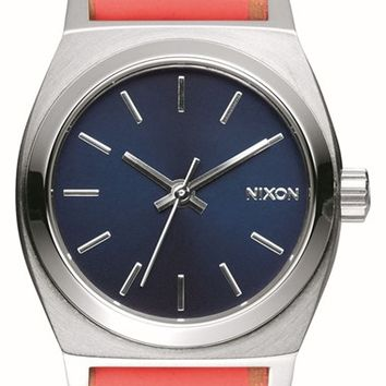 Women's Nixon 'Small Time Teller' Leather Strap Watch, 26mm - Bright Coral/ Navy/ Silver