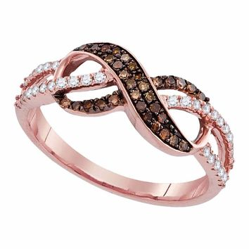 14kt Rose Gold Womens Round Cognac-brown Color Enhanced Diamond Infinity Ring 1/3 Cttw