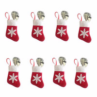12 Pieces / Lot Christmas Tree Decor Mini Christmas Stockings and Sacks Christmas Decoration Supplies Festival Party Ornament