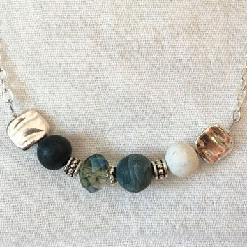 Essential oil jewelry, Aromatherapy necklace, Sparkly, Mixed Media Necklace, crystal, statement necklace, boho jewelry, clay bead, focal
