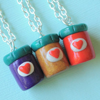 Best Friend 3 Way Peanut Butter and Jelly Jar Keychains