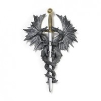 Gifts & Decor Pair of Medieval Dragons Wall Plaque with Dagger Knife