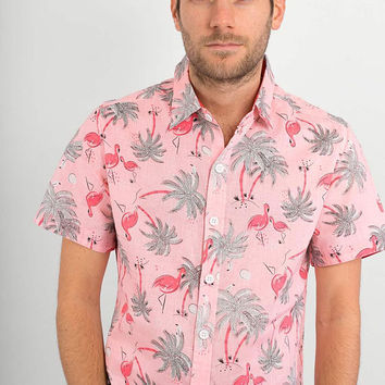 Mens 100% Cotton Short Sleeve Slim Fit Shirt Pink Flamingo Tropical Print