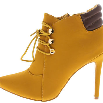 Camel Pointed Lace - Up Ankle Boot