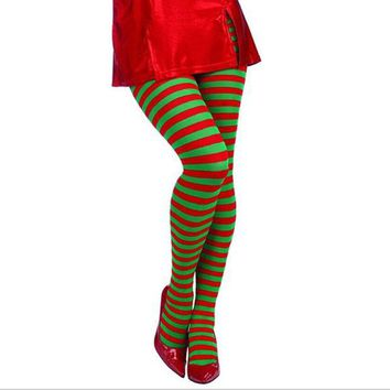 ONETOW Elf Tights Striped Christmas Red and Green Stockings