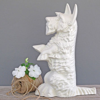vintage white scotty dog door stop or bookend by KatyBitsandPieces