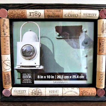 Wine Cork Picture Frame - Rustic Brown Barnwood Frame - 8 x 10 Photo Opening - Wedding, Vacation, Wine Tasting, Family