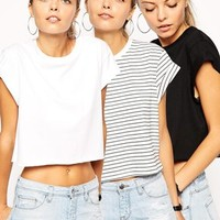 ASOS Cropped Boyfriend T-Shirt with Roll Sleeve 3 Pack SAVE 20%