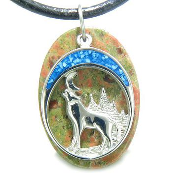 Howling Wolf Moon Amulet Spiritual Protection Powers Unakite Gemstone Pendant Leather Cord Necklace