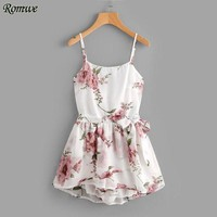 ONETOW ROMWE Floral Print Random Tie Open Back Cami Romper White Rompers for Women Summer Sleeveless Sexy Chiffon Romper