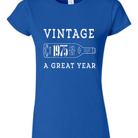 40th Birthday Gift Vintage 1975 Wine T-shirt Tshirt Tee Shirt Dads Moms Mens Womens Funny Joke Wine Aged to perfection Parents bday present