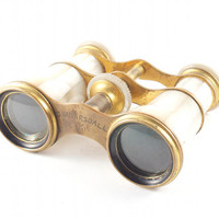 Victorian Steampunk Opera Glasses Antique Mother of Pearl and Brass Lemaire Fi Paris / 1800s 1900s