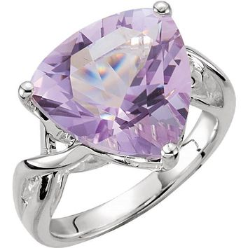 Sterling Silver 14mm Rose De France Amethyst Quartz Trillion Ring