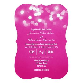 Hot Pink Bokeh Glitter Lights Wedding Invitation