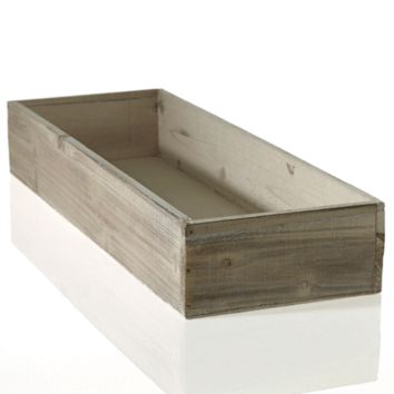 "Whitewashed Wooden Planter Box - 18.25"" L x 6.5"" W x 3"" H"