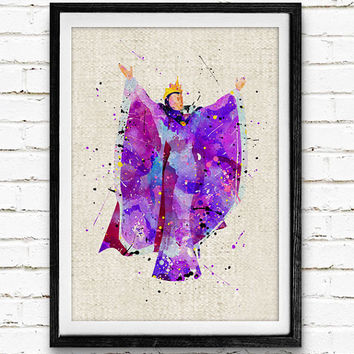 Evil Queen Watercolor Print, Disney Snow White Nursery Decor, Wall Art, Home Decor, Gift Idea, Not Framed, Buy 2 Get 1 Free!