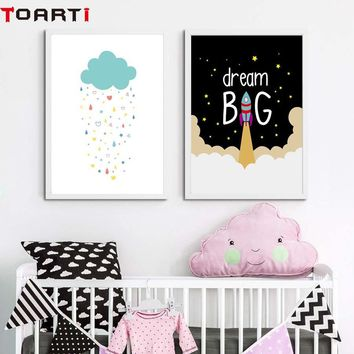 Cartoon Wall Poster Dream Big With Rocket Wall Art Prints Canvas Painting For Nursery Kids Bedroom Wall Picture Home Ornaments