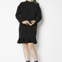 Long Sleeved Dress with Pleated Hem