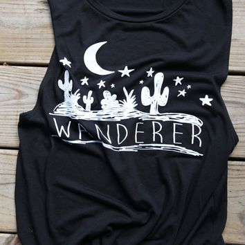 wanderer black muscle tee