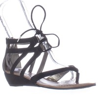 Carlos by Carlos Santana Lacey Lace Up Wedge Sandals, Black, 6.5 US / 36.5 EU