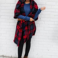 Night Drive Red Tartan Plaid Oversized Blanket Scarf With Raw Hem