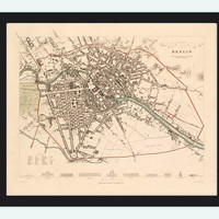 Old Map of Berlin, Germany 1851 Antique map vintage - VINTAGE MAPS AND PRINTS