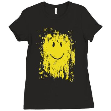 mud smiley face Ladies Fitted T-Shirt
