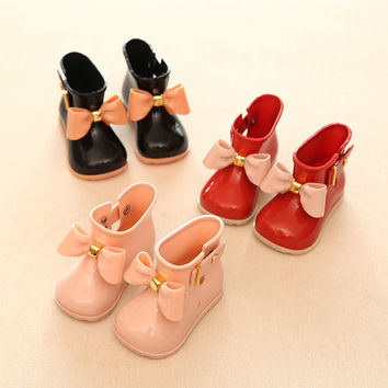 HOT Sale!!!2016 Kids Spring Autumn baby girls Rain Boots Warm Beauty Bow Rainboots Fashion Rubber Shoes Toddler Kids Jelly shoes
