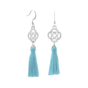 Aqua or Peach Threaded Tassel Earrings