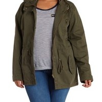 Plus Size Olive Drawstring Hooded Anorak Jacket by Charlotte Russe