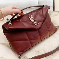 YSL New fashion leather shoulder bag crossbody bag Burgundy
