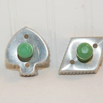 Vintage Green Wood Handled Aluminum Cookie Cutters (c. 1930's-1940's?) Vintage Cookie Cutters, Diamond, Spade, Sandwich Cutter, Bridge Party