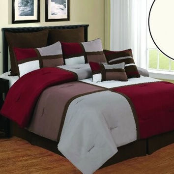 12pc Queen Deco Burgundy/ Brown/ Taupe Luxury Bed Set