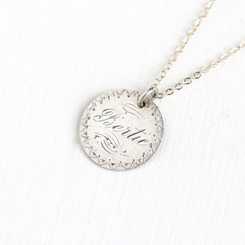 """Sale - Antique Silver """"Bertie"""" Love Token Coin Pendant Necklace - Victorian 1845 Seated Liberty Dime Coin Charm Monogrammed Vintage Jewelry"""