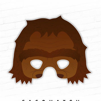 Printable Mask, Halloween Mask, Sasquatch, Big Foot, Monster Mask, Photo Booth Props Printable, Cosplay, Mythological, Birthday Party Prop