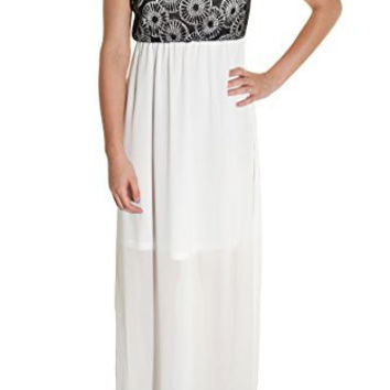 Banana Sheer Layer Lace Overlay Maxi Dress (White Black)