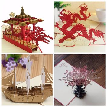 New 3D Chinese style Handmade Paper Card Personalized Vintage Keepsakes Postcards For Xmas Wedding Festival Greeting Invitations