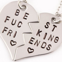 Best F&cking Friends Necklaces | Best Friend Gift | BFF Split Heart Jewelry | Hand Stamped Best Bitches Jewelry | Gift for Best Friend