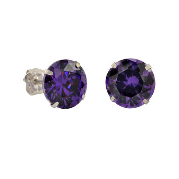 10k White Gold Purple CZ Stud Earrings Cubic Zirconia Round Prong Set