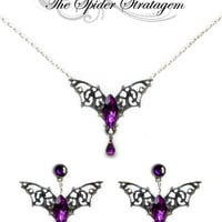 Gothic bat winged earrings + necklace + ring 'Purple Bats' halloween goth vampire horror victorian